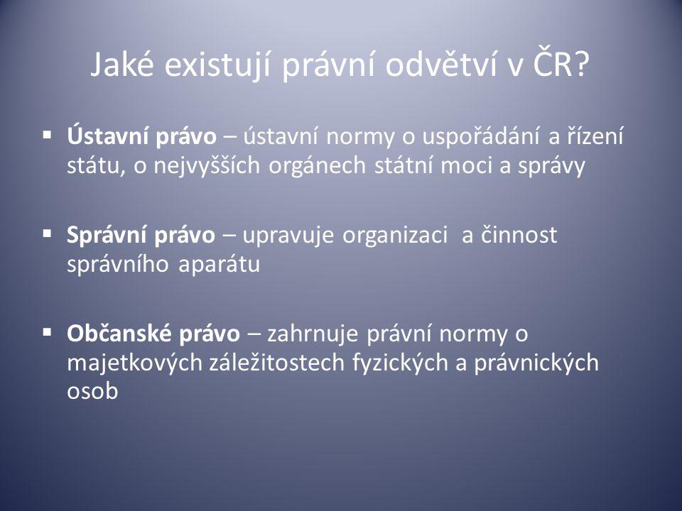 Jaké existují právní odvětví v ČR?  Ústavní právo – ústavní normy o uspořádání a řízení státu, o nejvyšších orgánech státní moci a správy  Správní p