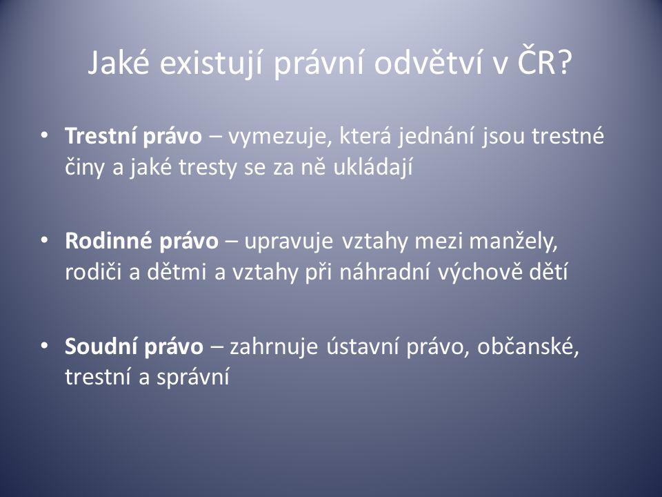 Jaké existují právní odvětví v ČR? Trestní právo – vymezuje, která jednání jsou trestné činy a jaké tresty se za ně ukládají Rodinné právo – upravuje