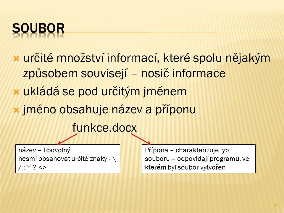 určité množství informací, které spolu nějakým způsobem souvisejí – nosič informace  ukládá se pod určitým jménem  jméno obsahuje název a příponu funkce.docx název – libovolný nesmí obsahovat určité znaky - \ / : * .