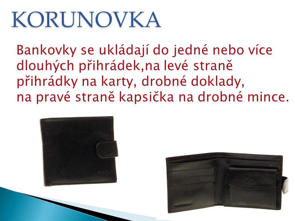 VIZITKA Pánská peněženka uzavíraná přeložením hlavního dílu.