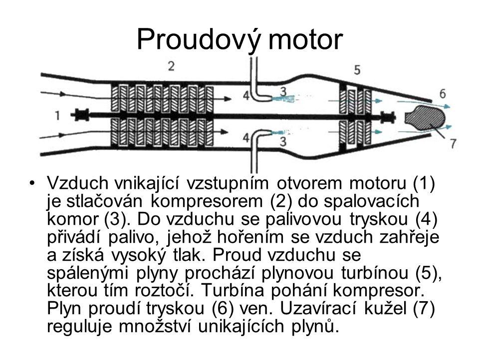 Proudový motor Vzduch vnikající vzstupním otvorem motoru (1) je stlačován kompresorem (2) do spalovacích komor (3).