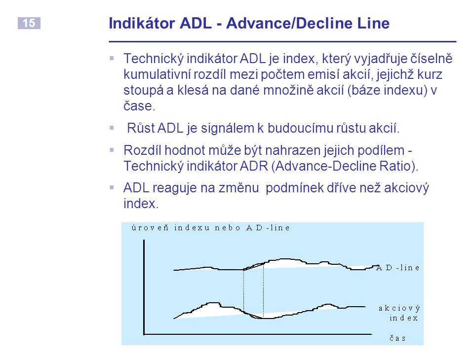 15 Indikátor ADL - Advance/Decline Line  Technický indikátor ADL je index, který vyjadřuje číselně kumulativní rozdíl mezi počtem emisí akcií, jejich