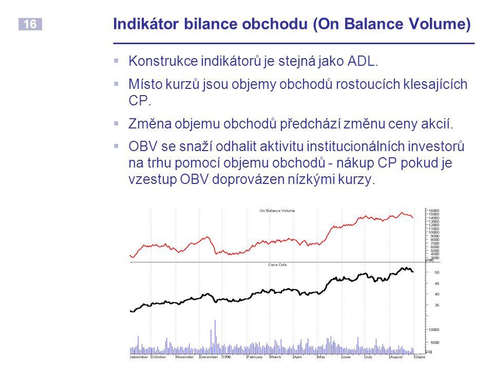 16 Indikátor bilance obchodu (On Balance Volume)  Konstrukce indikátorů je stejná jako ADL.  Místo kurzů jsou objemy obchodů rostoucích klesajících