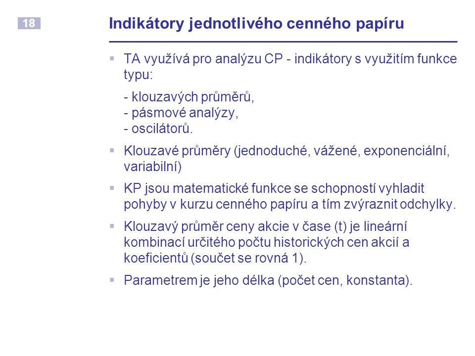 18 Indikátory jednotlivého cenného papíru  TA využívá pro analýzu CP - indikátory s využitím funkce typu: - klouzavých průměrů, - pásmové analýzy, -
