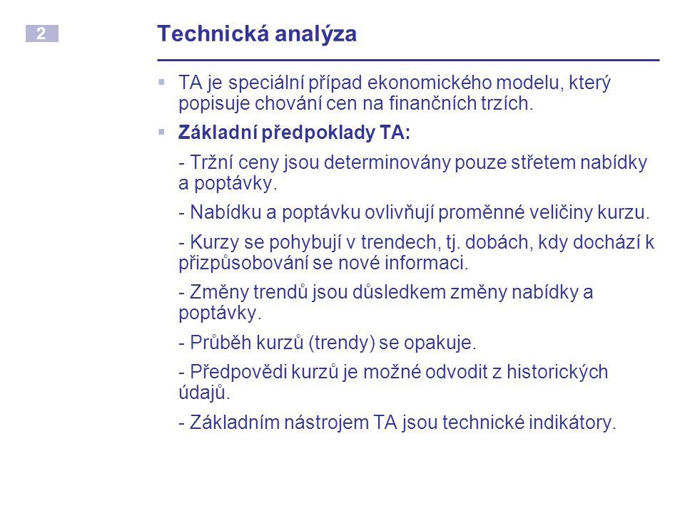 2 Technická analýza  TA je speciální případ ekonomického modelu, který popisuje chování cen na finančních trzích.  Základní předpoklady TA: - Tržní