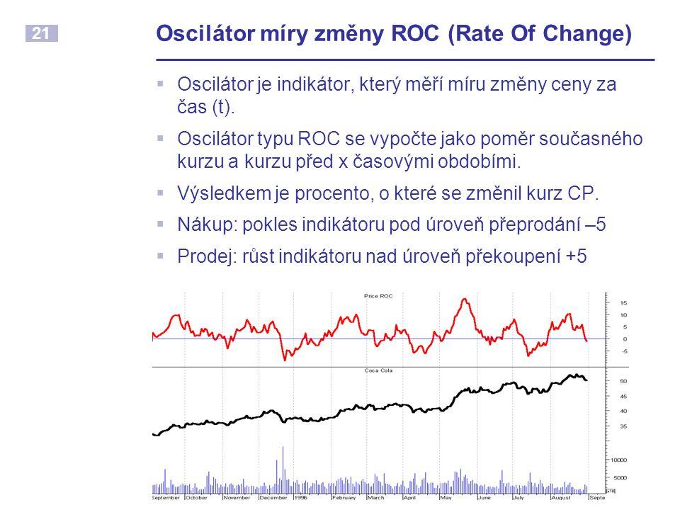 21 Oscilátor míry změny ROC (Rate Of Change)  Oscilátor je indikátor, který měří míru změny ceny za čas (t).  Oscilátor typu ROC se vypočte jako pom
