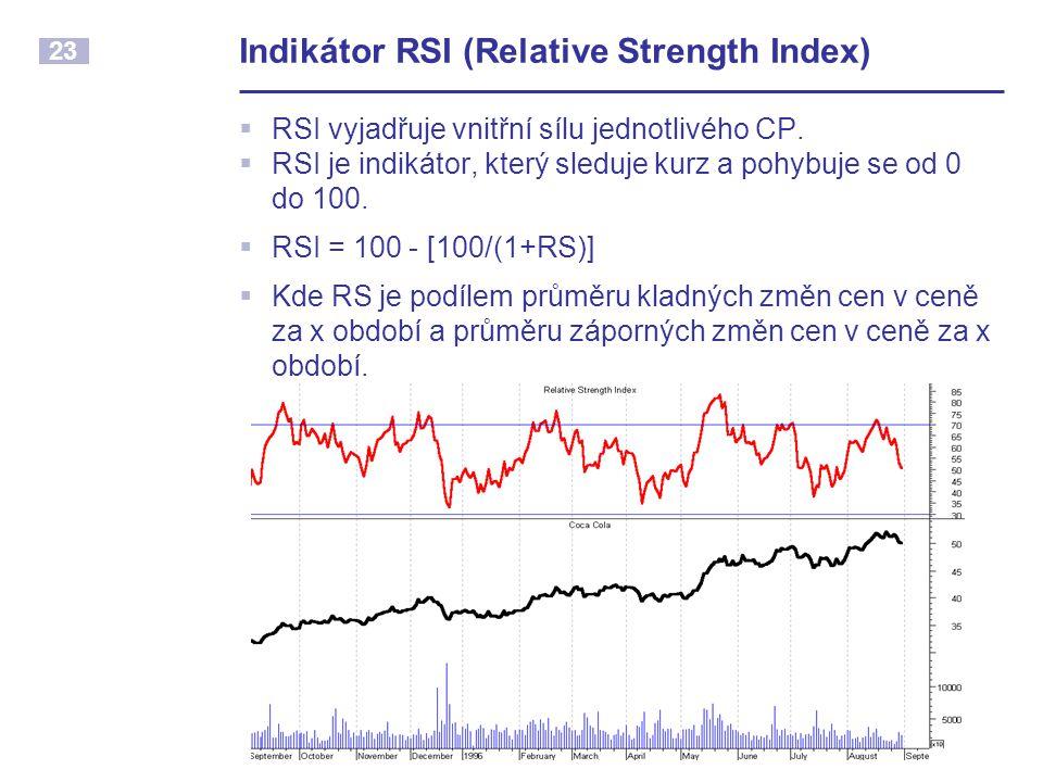 23 Indikátor RSI (Relative Strength Index)  RSI vyjadřuje vnitřní sílu jednotlivého CP.  RSI je indikátor, který sleduje kurz a pohybuje se od 0 do