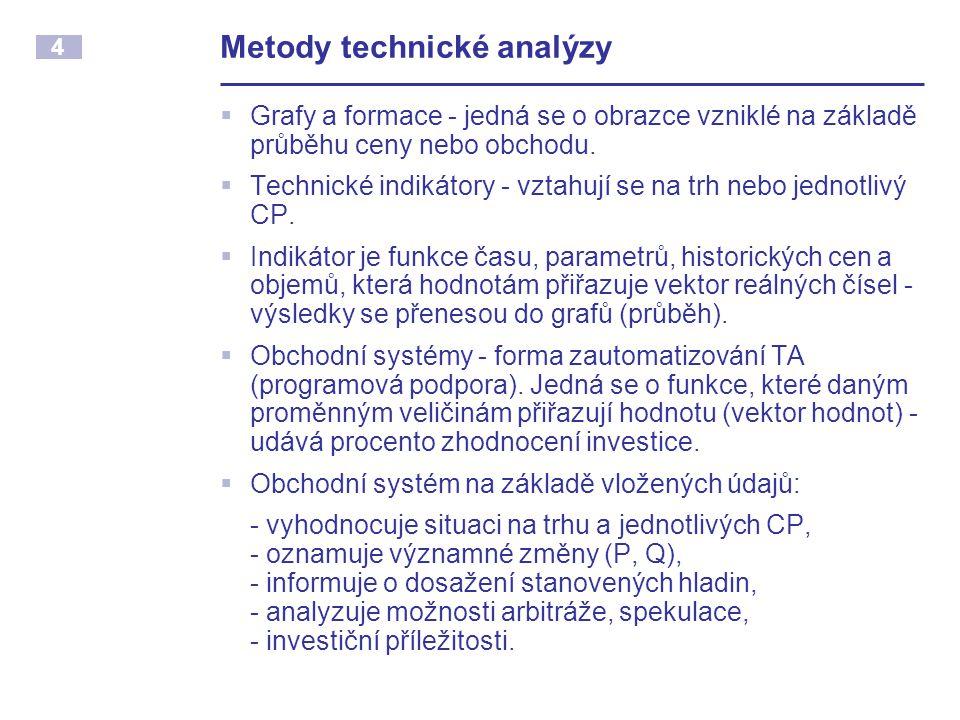 4 Metody technické analýzy  Grafy a formace - jedná se o obrazce vzniklé na základě průběhu ceny nebo obchodu.  Technické indikátory - vztahují se n