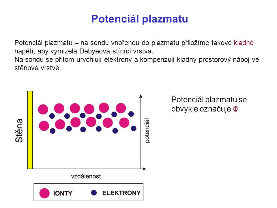Potenciál plazmatu Potenciál plazmatu – na sondu vnořenou do plazmatu přiložíme takové kladné napětí, aby vymizela Debyeova stínící vrstva. Na sondu s