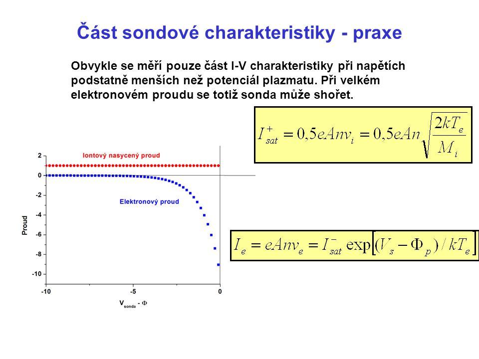 Část sondové charakteristiky - praxe Obvykle se měří pouze část I-V charakteristiky při napětích podstatně menších než potenciál plazmatu. Při velkém