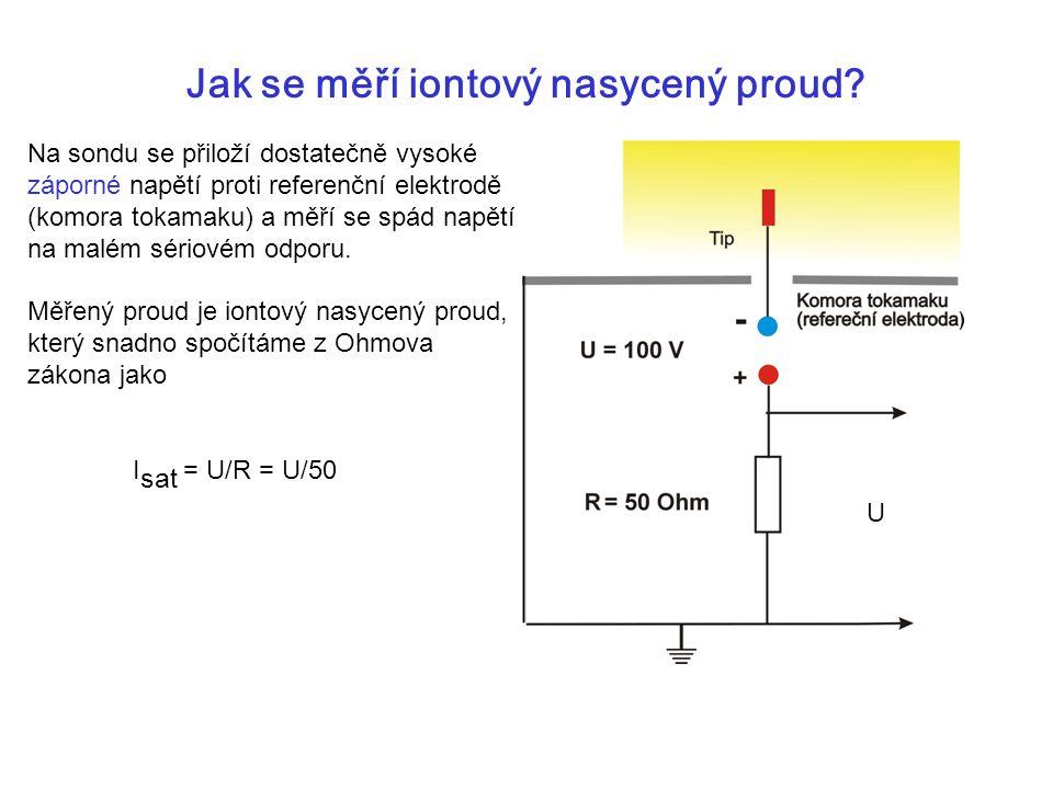 Jak se měří iontový nasycený proud? Na sondu se přiloží dostatečně vysoké záporné napětí proti referenční elektrodě (komora tokamaku) a měří se spád n