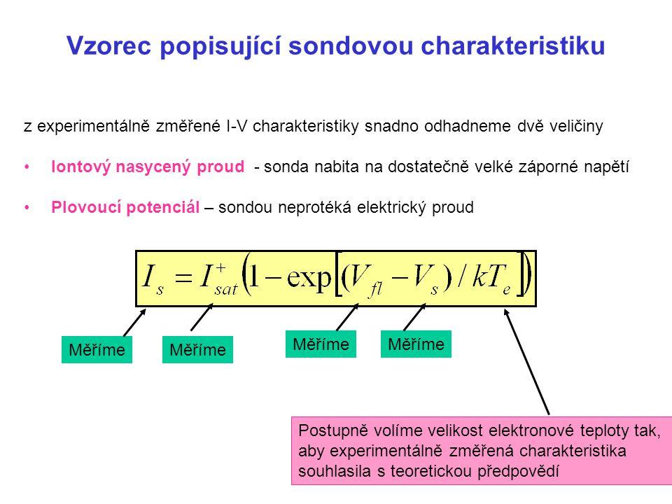 Vzorec popisující sondovou charakteristiku z experimentálně změřené I-V charakteristiky snadno odhadneme dvě veličiny Iontový nasycený proud - sonda n