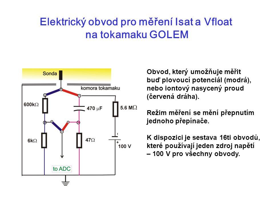 Elektrický obvod pro měření Isat a Vfloat na tokamaku GOLEM Obvod, který umožňuje měřit buď plovoucí potenciál (modrá), nebo iontový nasycený proud (č
