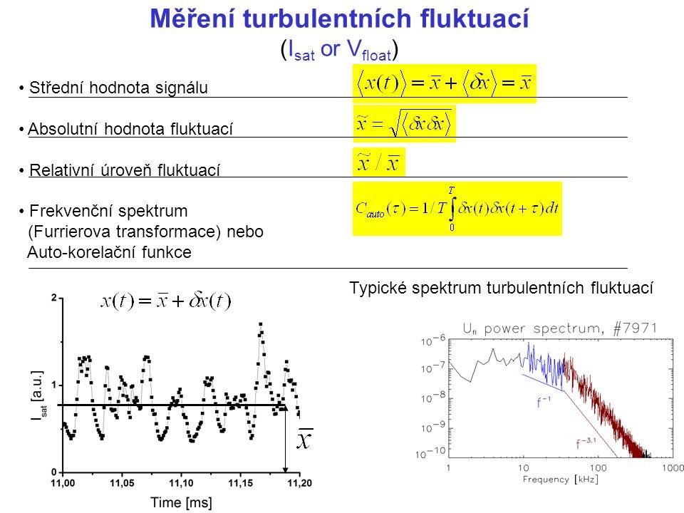 Měření turbulentních fluktuací (I sat or V float ) Střední hodnota signálu Absolutní hodnota fluktuací Relativní úroveň fluktuací Frekvenční spektrum