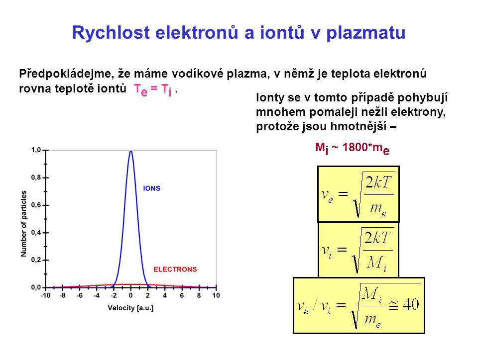 Rychlost elektronů a iontů v plazmatu Předpokládejme, že máme vodíkové plazma, v němž je teplota elektronů rovna teplotě iontů T e = T i. Ionty se v t