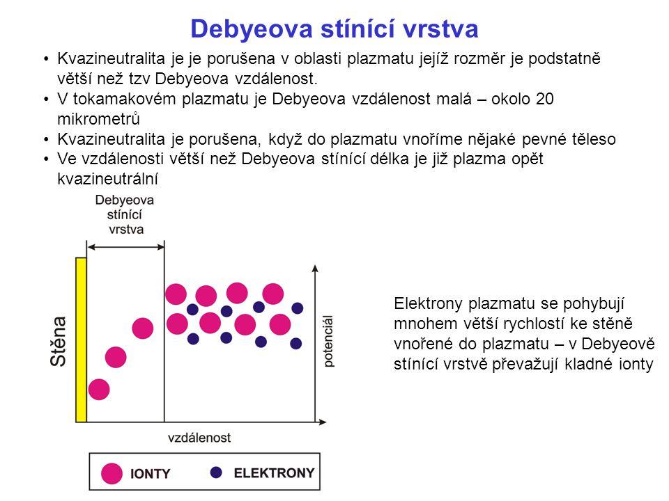 Kvazineutralita je je porušena v oblasti plazmatu jejíž rozměr je podstatně větší než tzv Debyeova vzdálenost. V tokamakovém plazmatu je Debyeova vzdá
