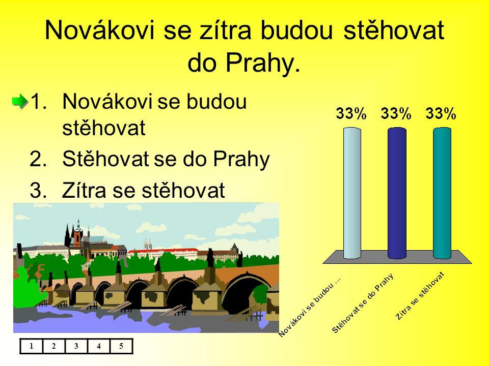 Novákovi se zítra budou stěhovat do Prahy. 1.Novákovi se budou stěhovat 2.Stěhovat se do Prahy 3.Zítra se stěhovat 12345