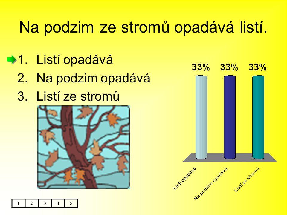 Na podzim ze stromů opadává listí. 12345 1.Listí opadává 2.Na podzim opadává 3.Listí ze stromů