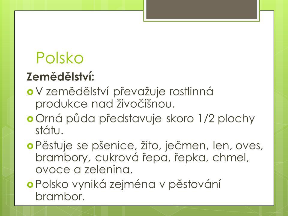 Polsko Zemědělství:  V zemědělství převažuje rostlinná produkce nad živočišnou.  Orná půda představuje skoro 1/2 plochy státu.  Pěstuje se pšenice,