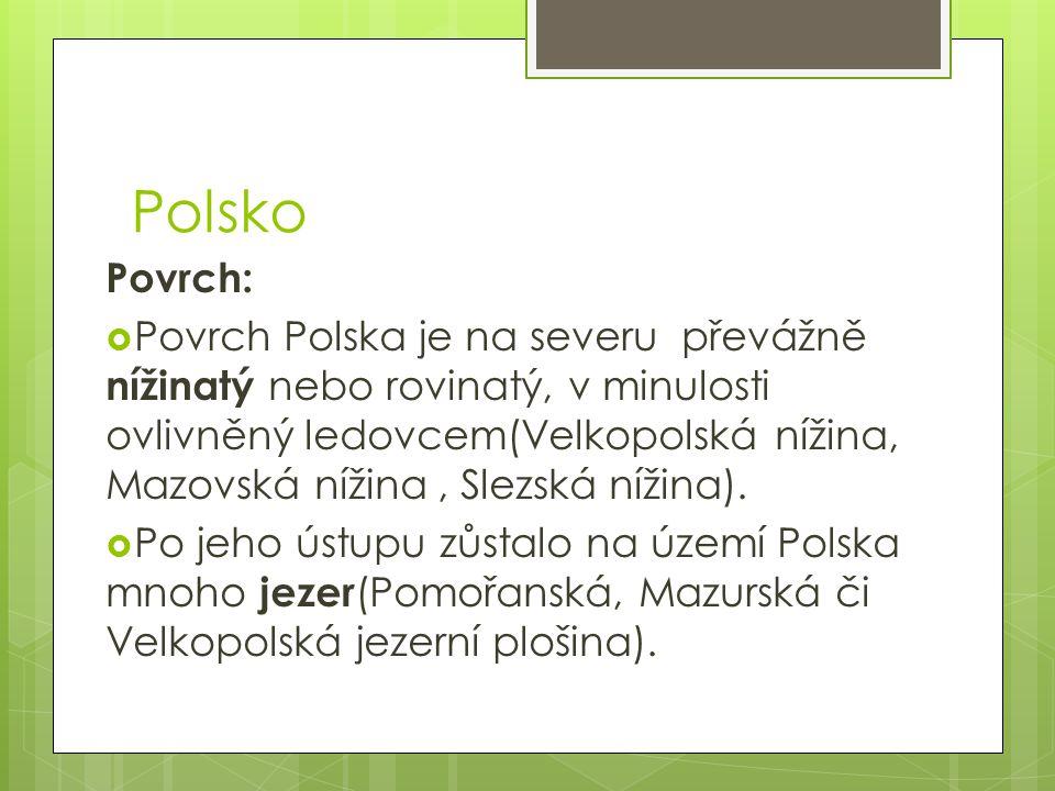 Polsko Povrch:  Povrch Polska je na severu převážně nížinatý nebo rovinatý, v minulosti ovlivněný ledovcem(Velkopolská nížina, Mazovská nížina, Slezská nížina).