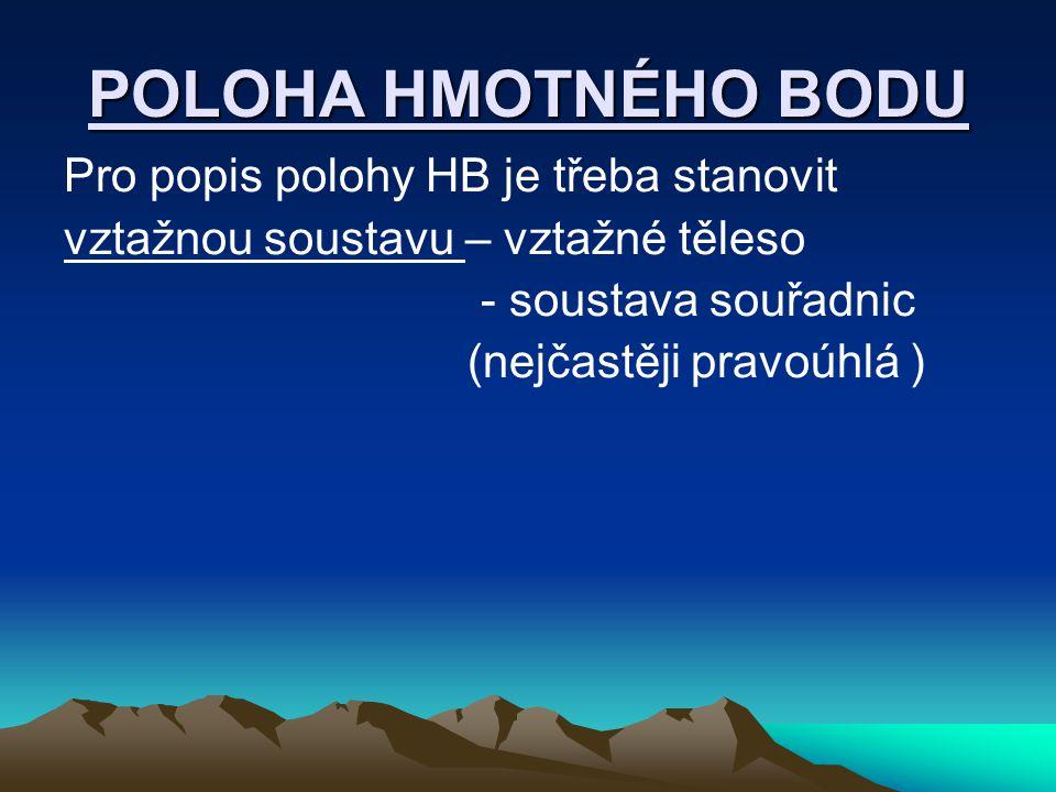 POLOHA HMOTNÉHO BODU Pro popis polohy HB je třeba stanovit vztažnou soustavu – vztažné těleso - soustava souřadnic (nejčastěji pravoúhlá )