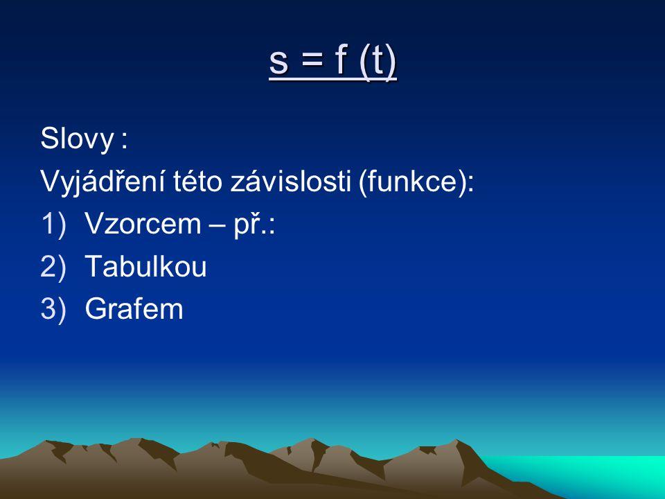 s = f (t) Slovy : Vyjádření této závislosti (funkce): 1)Vzorcem – př.: 2)Tabulkou 3)Grafem