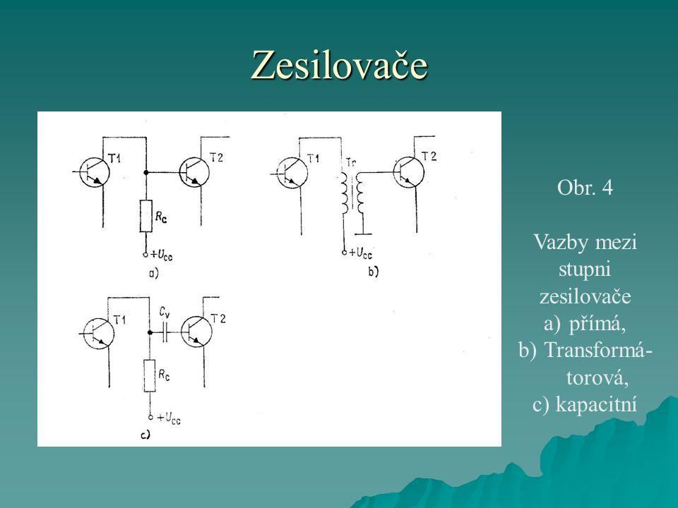 Zesilovače Obr. 4 Vazby mezi stupni zesilovače a)přímá, b)Transformá- torová, c) kapacitní