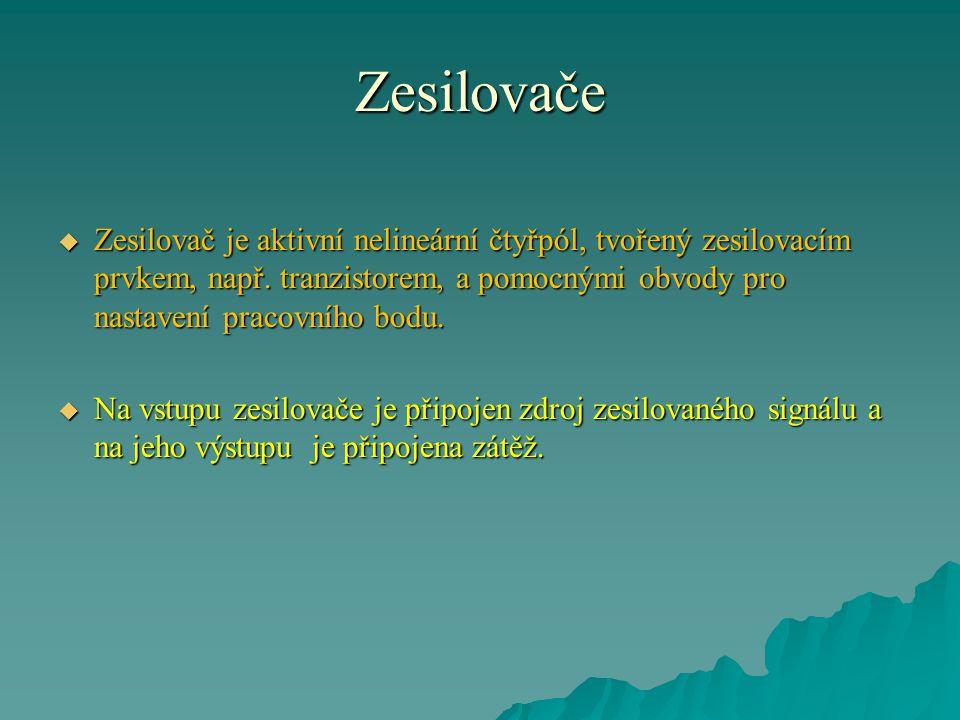 Zesilovače  Zesilovač je aktivní nelineární čtyřpól, tvořený zesilovacím prvkem, např.