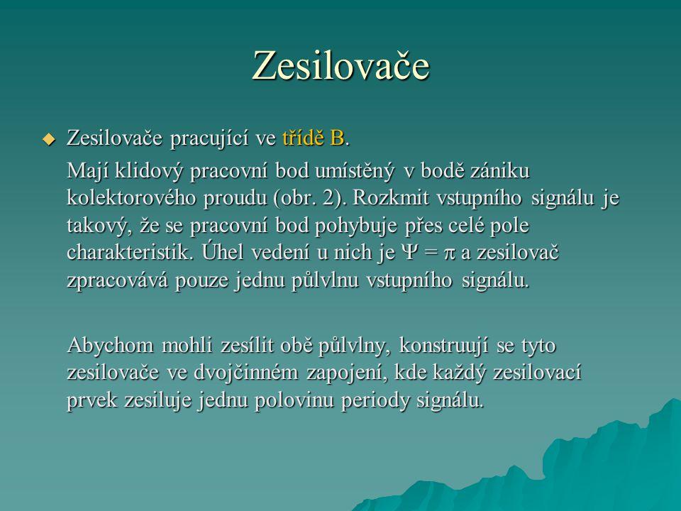 Zesilovače  Zesilovače pracující ve třídě B. Mají klidový pracovní bod umístěný v bodě zániku kolektorového proudu (obr. 2). Rozkmit vstupního signál