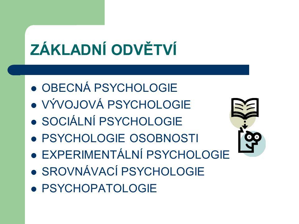 ZÁKLADNÍ ODVĚTVÍ OBECNÁ PSYCHOLOGIE VÝVOJOVÁ PSYCHOLOGIE SOCIÁLNÍ PSYCHOLOGIE PSYCHOLOGIE OSOBNOSTI EXPERIMENTÁLNÍ PSYCHOLOGIE SROVNÁVACÍ PSYCHOLOGIE PSYCHOPATOLOGIE