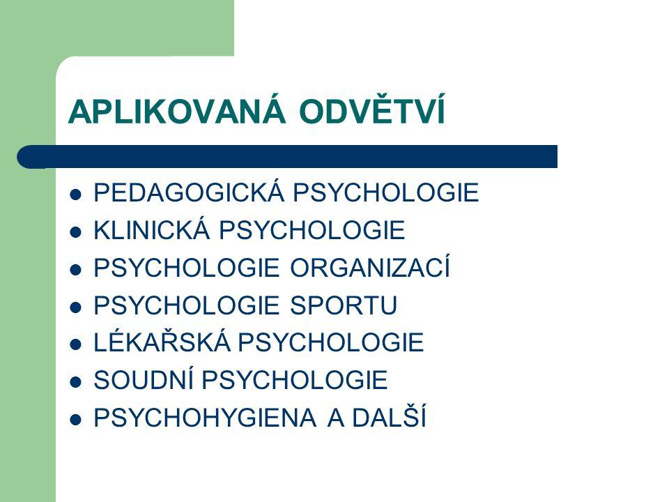 APLIKOVANÁ ODVĚTVÍ PEDAGOGICKÁ PSYCHOLOGIE KLINICKÁ PSYCHOLOGIE PSYCHOLOGIE ORGANIZACÍ PSYCHOLOGIE SPORTU LÉKAŘSKÁ PSYCHOLOGIE SOUDNÍ PSYCHOLOGIE PSYCHOHYGIENA A DALŠÍ