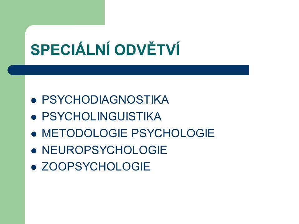 SPECIÁLNÍ ODVĚTVÍ PSYCHODIAGNOSTIKA PSYCHOLINGUISTIKA METODOLOGIE PSYCHOLOGIE NEUROPSYCHOLOGIE ZOOPSYCHOLOGIE