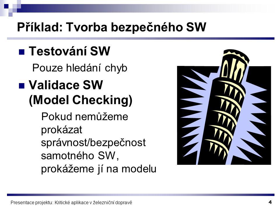 4 Presentace projektu: Kritické aplikace v železniční dopravě Příklad: Tvorba bezpečného SW Testování SW Pouze hledání chyb Validace SW (Model Checking) Pokud nemůžeme prokázat správnost/bezpečnost samotného SW, prokážeme jí na modelu
