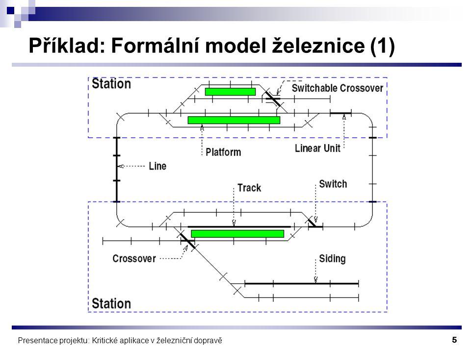 5 Presentace projektu: Kritické aplikace v železniční dopravě Příklad: Formální model železnice (1)