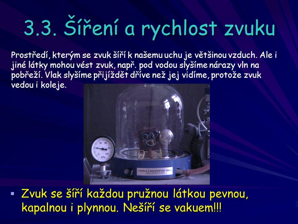 3.3. Šíření a rychlost zvuku ZZZZvuk se šíří každou pružnou látkou pevnou, kapalnou i plynnou.