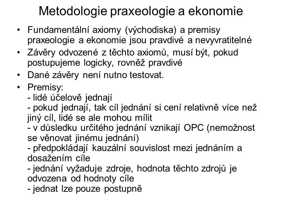 Metodologie praxeologie a ekonomie Fundamentální axiomy (východiska) a premisy praxeologie a ekonomie jsou pravdivé a nevyvratitelné Závěry odvozené z těchto axiomů, musí být, pokud postupujeme logicky, rovněž pravdivé Dané závěry není nutno testovat.