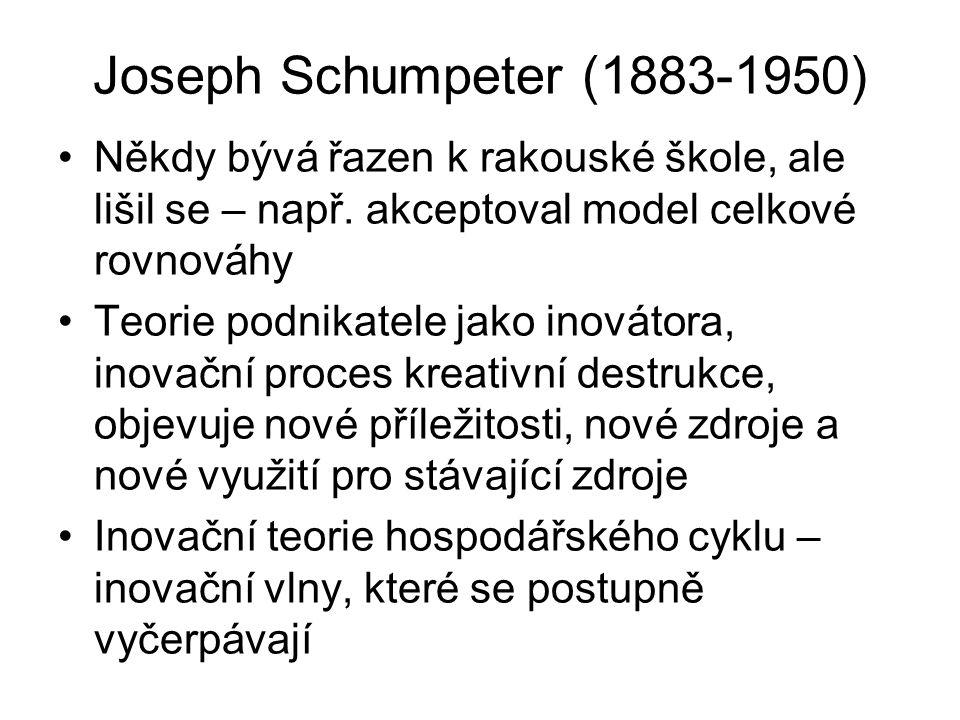 Joseph Schumpeter (1883-1950) Někdy bývá řazen k rakouské škole, ale lišil se – např.