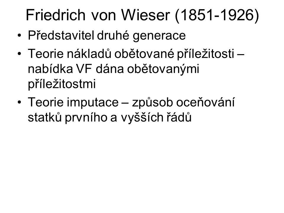 Friedrich von Wieser (1851-1926) Představitel druhé generace Teorie nákladů obětované příležitosti – nabídka VF dána obětovanými příležitostmi Teorie imputace – způsob oceňování statků prvního a vyšších řádů