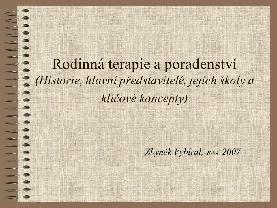 Rodinná terapie a poradenství (Historie, hlavní představitelé, jejich školy a klíčové koncepty) Zbyněk Vybíral, 2004 -2007
