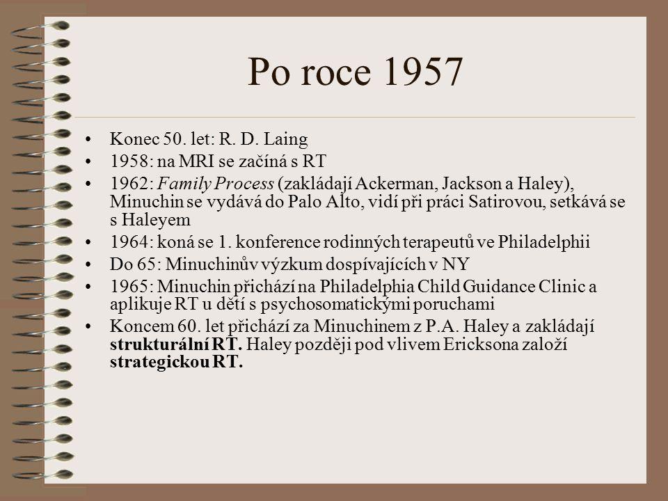 Po roce 1957 Konec 50. let: R. D. Laing 1958: na MRI se začíná s RT 1962: Family Process (zakládají Ackerman, Jackson a Haley), Minuchin se vydává do