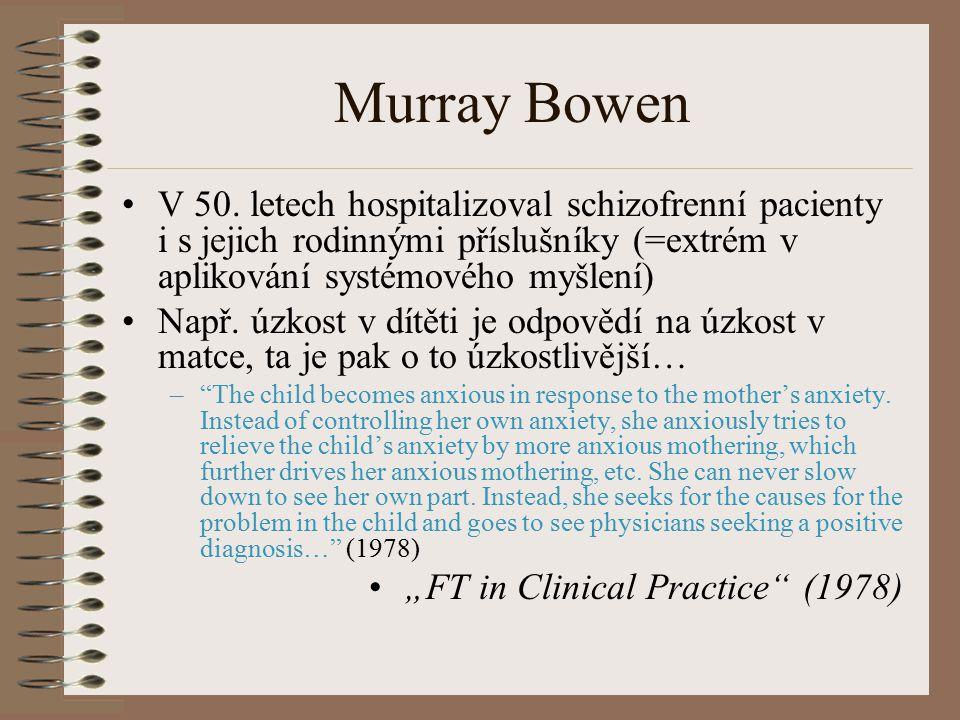 Murray Bowen V 50. letech hospitalizoval schizofrenní pacienty i s jejich rodinnými příslušníky (=extrém v aplikování systémového myšlení) Např. úzkos