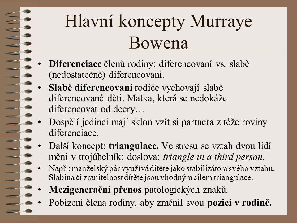 Hlavní koncepty Murraye Bowena Diferenciace členů rodiny: diferencovaní vs.