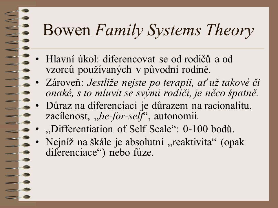 Bowen Family Systems Theory Hlavní úkol: diferencovat se od rodičů a od vzorců používaných v původní rodině.