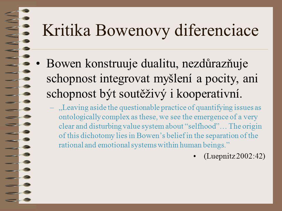 Kritika Bowenovy diferenciace Bowen konstruuje dualitu, nezdůrazňuje schopnost integrovat myšlení a pocity, ani schopnost být soutěživý i kooperativní