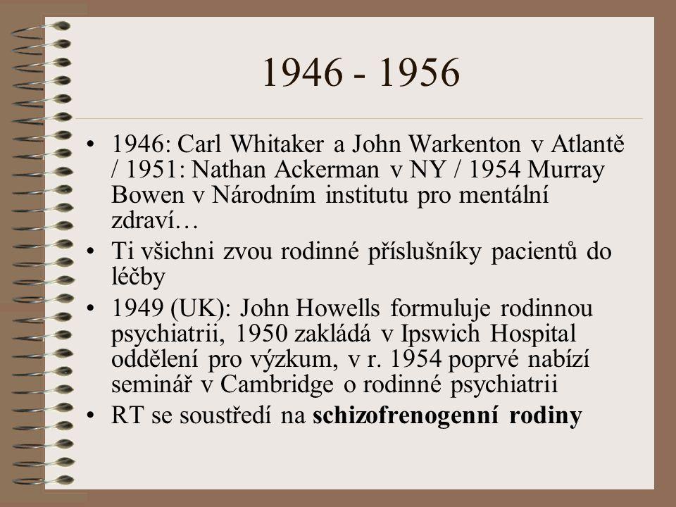 1946 - 1956 1946: Carl Whitaker a John Warkenton v Atlantě / 1951: Nathan Ackerman v NY / 1954 Murray Bowen v Národním institutu pro mentální zdraví… Ti všichni zvou rodinné příslušníky pacientů do léčby 1949 (UK): John Howells formuluje rodinnou psychiatrii, 1950 zakládá v Ipswich Hospital oddělení pro výzkum, v r.