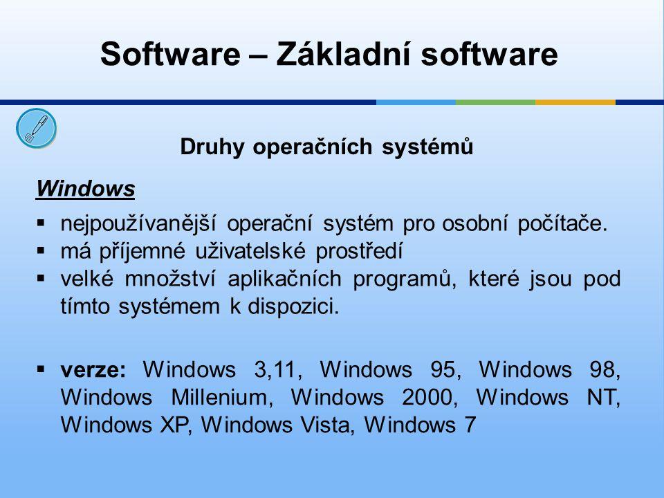 Software – Základní software Druhy operačních systémů Windows  nejpoužívanější operační systém pro osobní počítače.