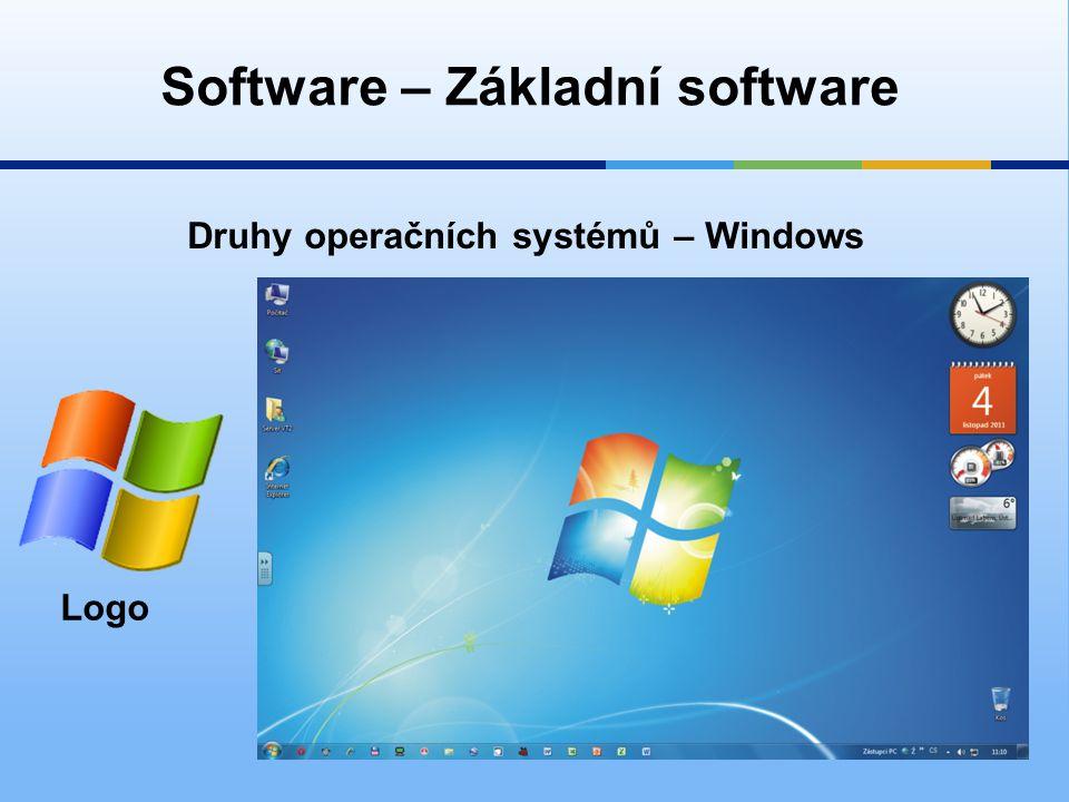 Software – Základní software Druhy operačních systémů – Windows Logo