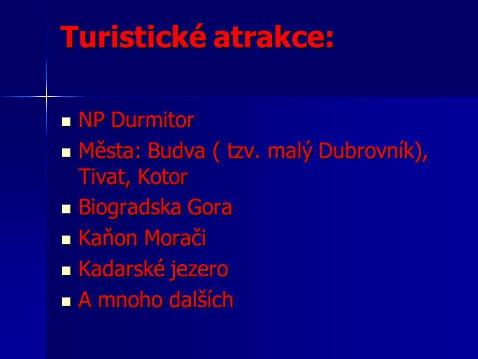Turistické atrakce: NP Durmitor NP Durmitor Města: Budva ( tzv.