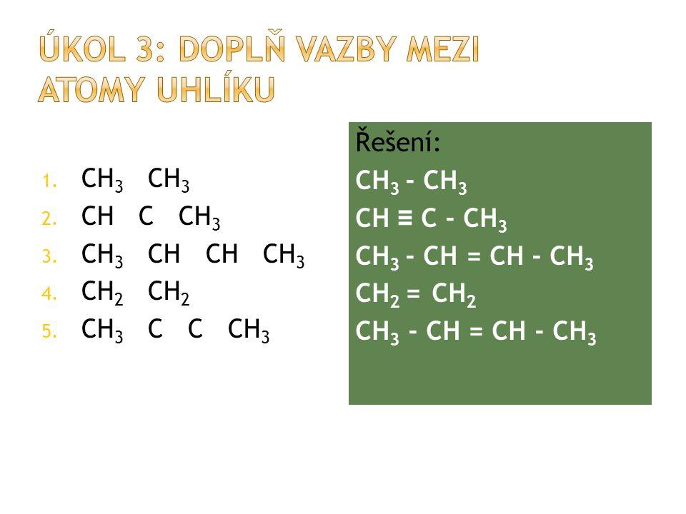 1. CH 3 CH 3 2. CH C CH 3 3. CH 3 CH CH CH 3 4.