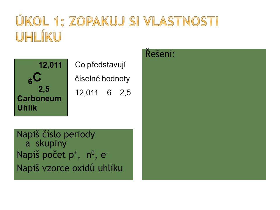 Napiš číslo periody a skupiny Napiš počet p +, n 0, e - Napiš vzorce oxidů uhlíku Řešení: molární hmotnost protonové číslo elektronegativita 5, IV.A 6, 6, 6 CO, CO 2 12,011 6 C 2,5 Carboneum Uhlik Co představují číselné hodnoty 12,011 6 2,5